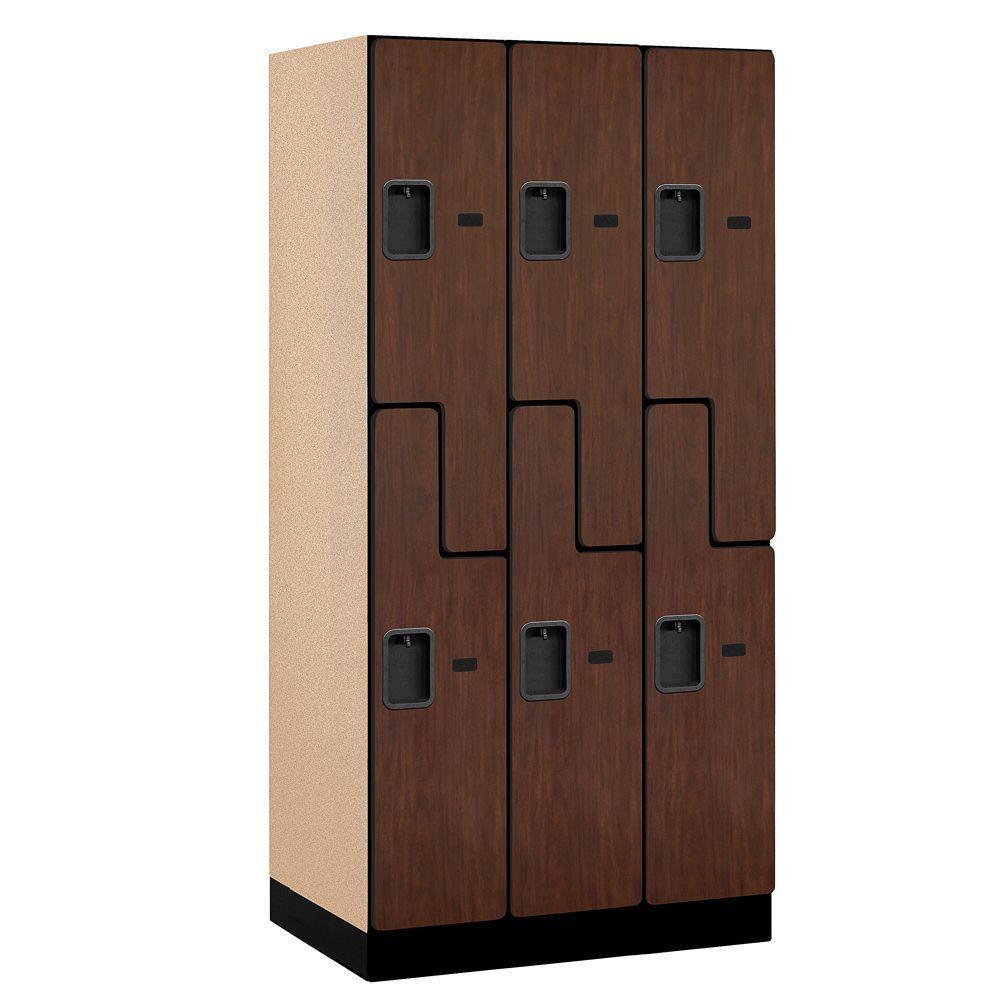 Salsbury Industries 37000 Series 36 in. W x 76 in. H x 21 in. D 2-Tier S-Style Designer Wood Locker in Mahogany