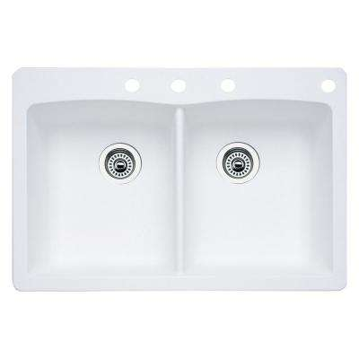 Diamond Dual-Mount Granite 33 in. 4-Hole 50/50 Double Bowl Kitchen Sink in White