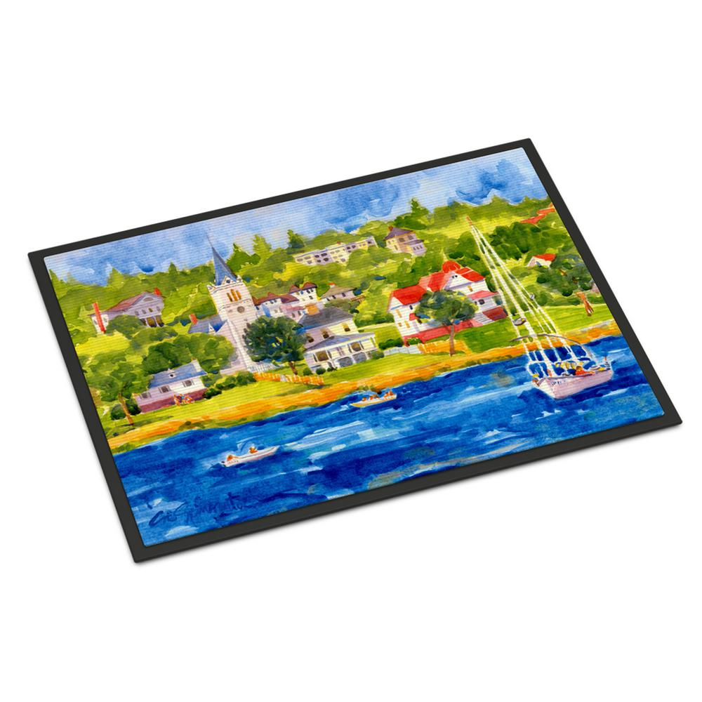 18 in. x 27 in. Indoor/Outdoor Harbour Scene with Sailboat Door