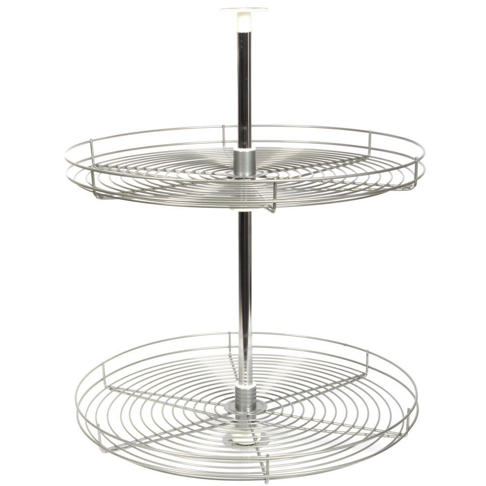 Knape & Vogt 30.5 in. x 24 in. x 24 in. Full Round Frosted Nickel Wire Lazy Susan Cabinet Organizer