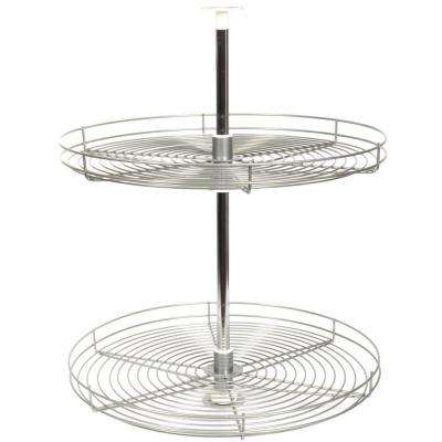 30.5 in. x 24 in. x 24 in. Full Round Frosted Nickel Wire Lazy Susan Cabinet Organizer