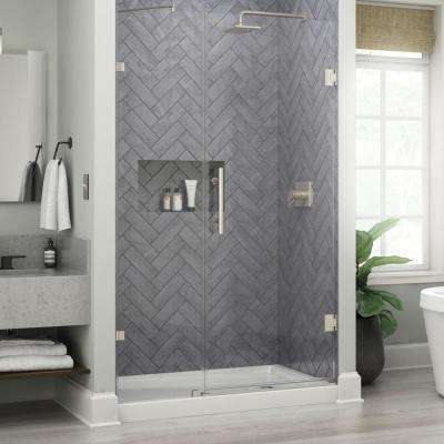 Ametrine 48 in. x 76 in. Heavy Frameless Hinge Shower Door in Brushed Nickel with 5/16 in. (8 mm) Clear Glass