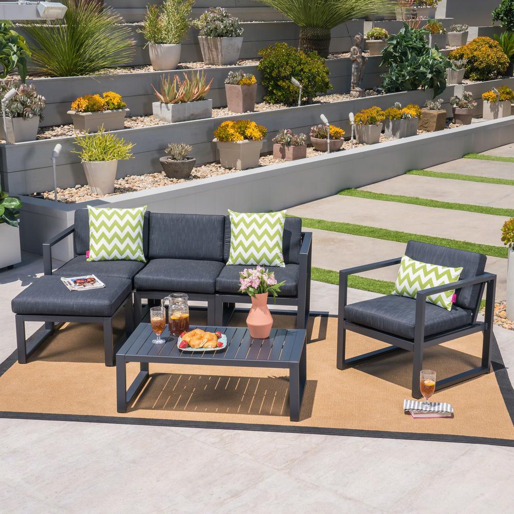 Navan Black 6 Piece Aluminum Patio Conversation Set With Dark Grey Cushions