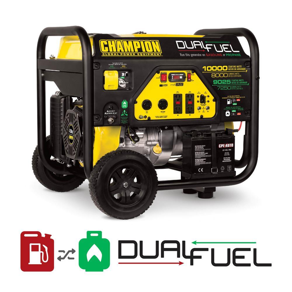 8000-Watt Dual Fuel Push-Button Electric Start Powered Portable Generator