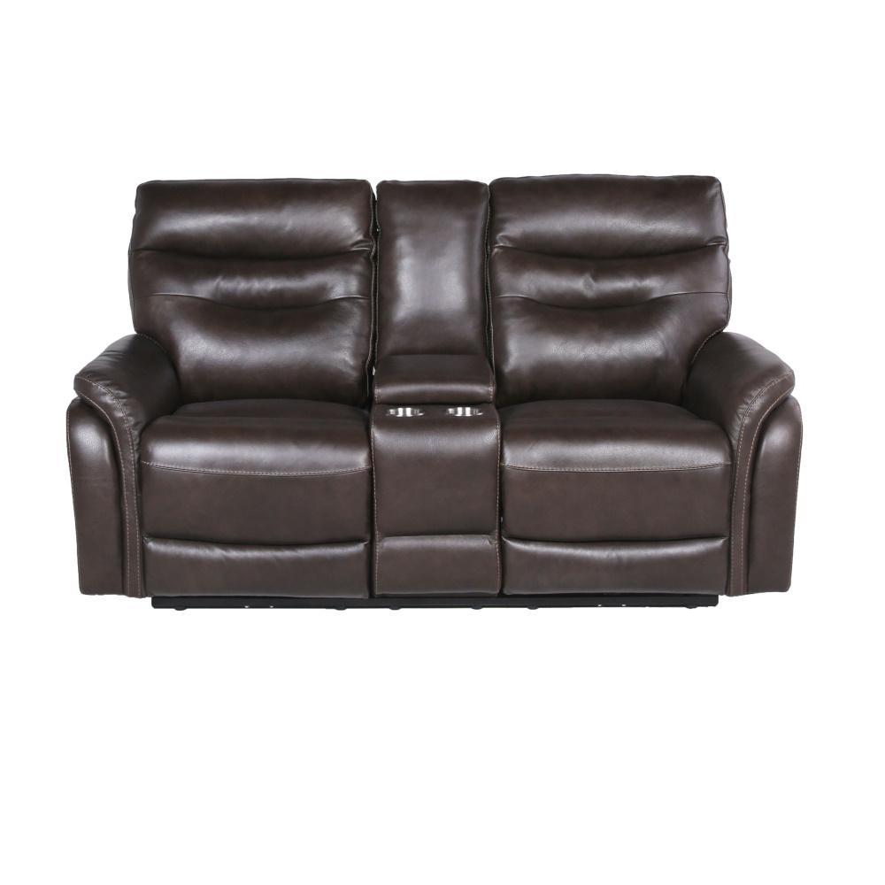 Fortuna 2-Seat Dark Brown Leather Power Recliner Loveseat