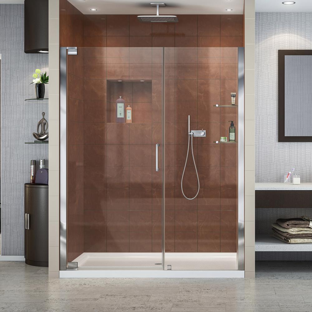 Elegance 51 to 53 in. x 72 in. Semi-Frameless Pivot Shower Door in Chrome
