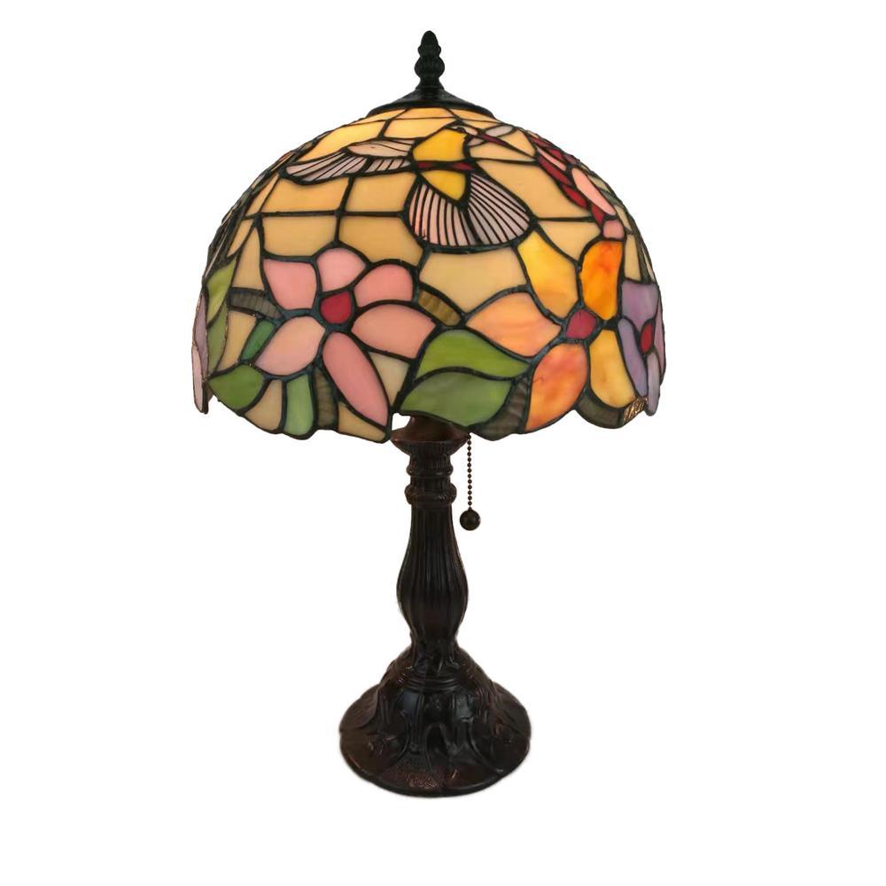 19 in. Tiffany Style Hummingbird Design Table Lamp