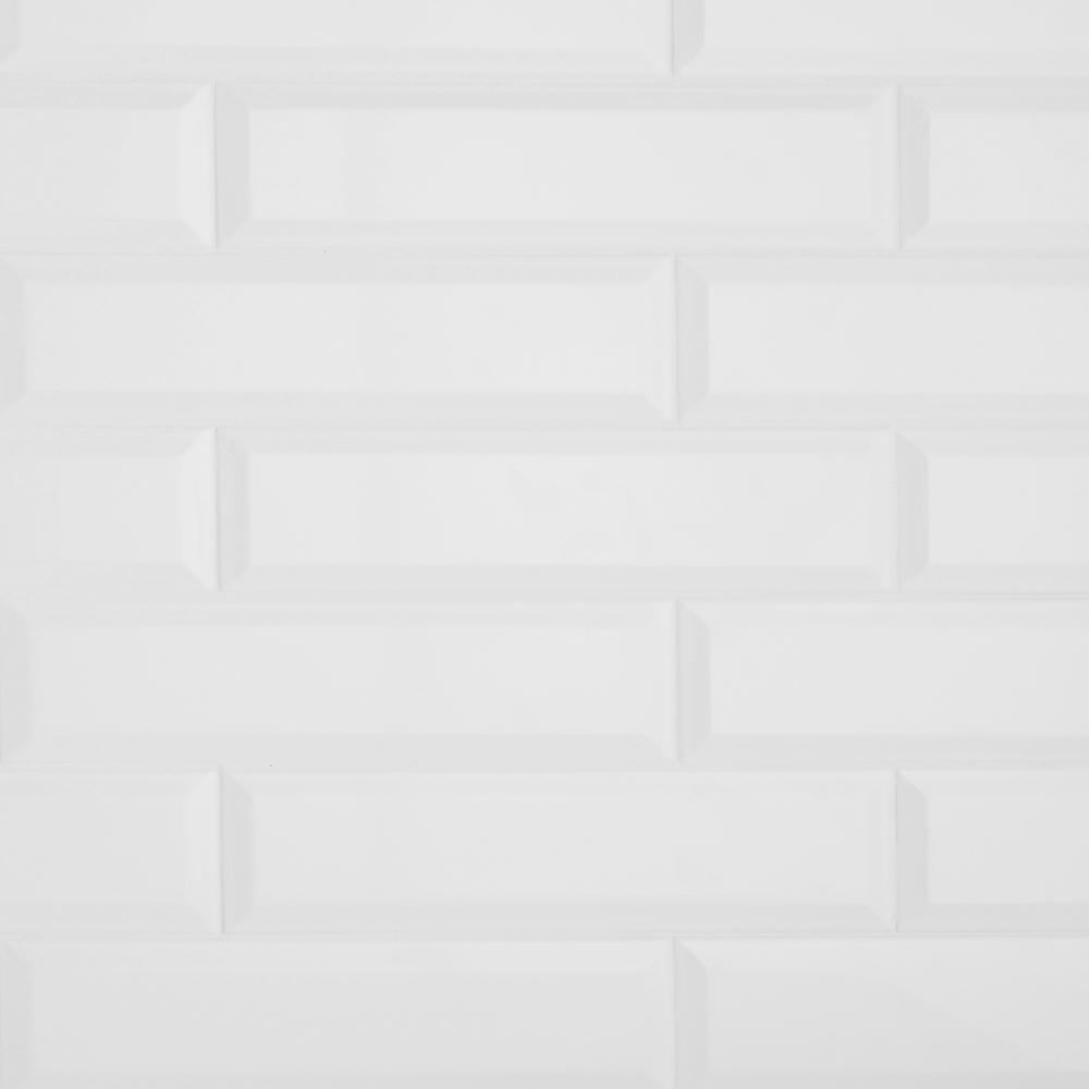 Restore 3 in. x 12 in. Ceramic Bevel Bright White Subway Tile (9 sq. ft. / case)