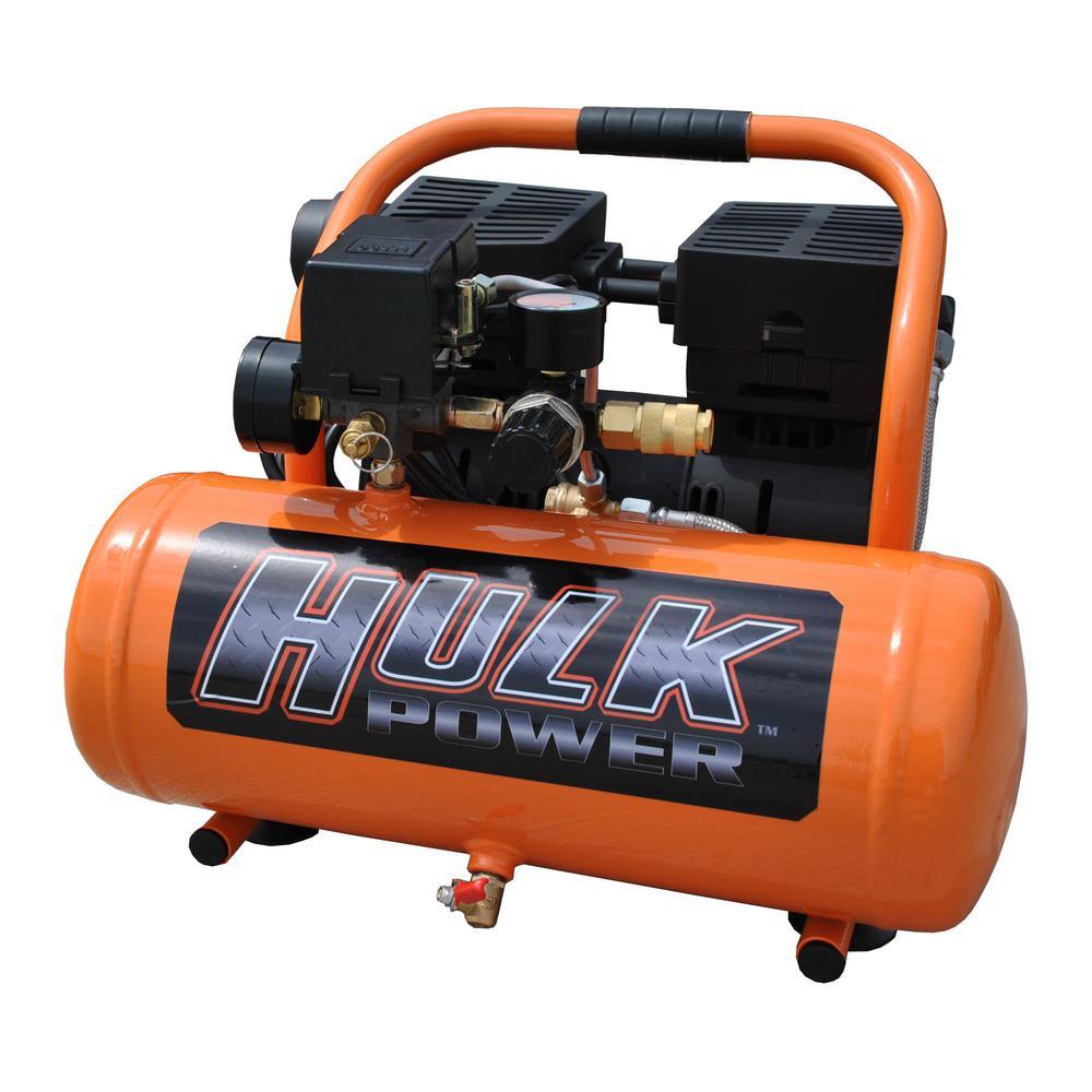 HULK POWER 2 Gal. 1 HP Portable Electric-Powered Hotdog Silent Air Compressor by HULK POWER