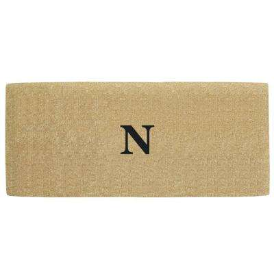 No Border 36 in. x 72 in. Heavy Duty Coir Monogrammed N Door Mat
