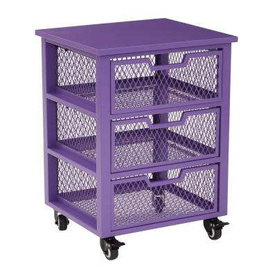 Clayton Purple Metal Frame 3-Drawer Rolling Cart