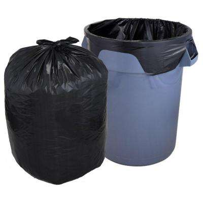 33 Gal. Heavy Duty Flap Tie Black Trash Liners (100-Count)