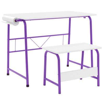 28 in. H x 21.75 in. D Plastic Homeroom Purple/White Art Table and Bench with Paper Roll (2-Piece)