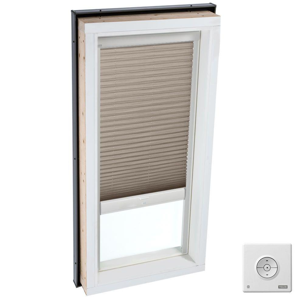 Velux solar powered light filtering cappuccino skylight for Velux solar powered blinds