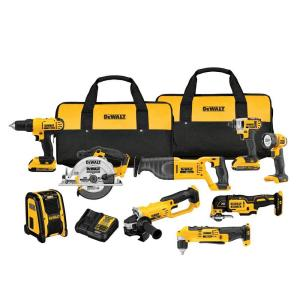 Dewalt 20-Volt MAX Lithium-Ion Cordless Combo Kit (9-Tool) with (2) Batteries 2Ah, Charger and (2) Contractor... by DEWALT
