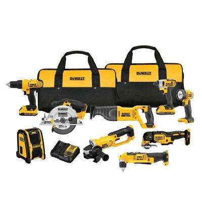20-Volt MAX Lithium-Ion Cordless Combo Kit (9-Tool) with (2) Batteries 2Ah, Charger and (2) Contractor Bags