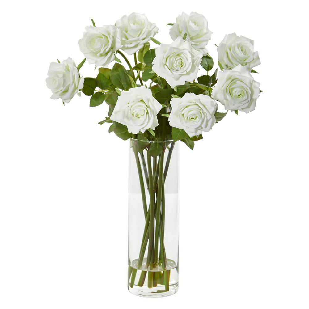Indoor Rose Artificial Arrangement in Cylinder Vase