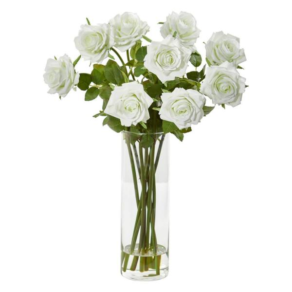 Nearly Natural Indoor Rose Artificial Arrangement in Cylinder Vase 1798-CR
