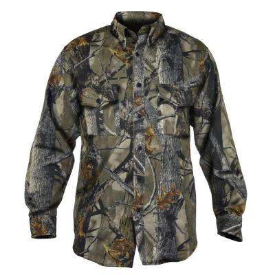 Men's Extra Large Camouflage Poly Cotton Button Down Shirt