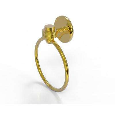 Satellite Orbit One Collection Towel Ring with Groovy Accent in Polished Brass