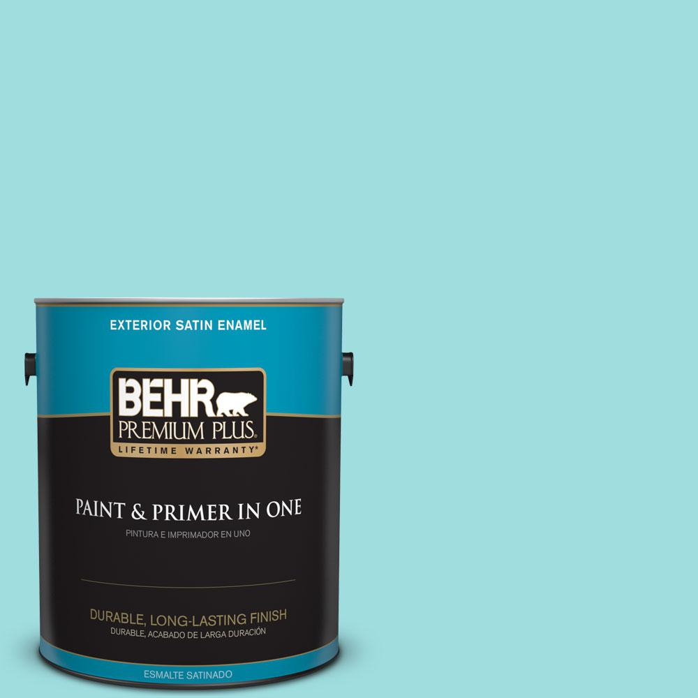 1-gal. #P460-2 Tropical Waterfall Satin Enamel Exterior Paint