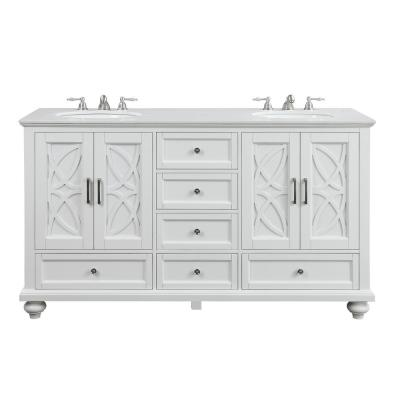 Colford 62 in. W x 22 in. D Bath Vanity in White with Marble Vanity Top in White with White Basin