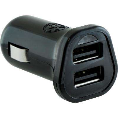 2.4 Amp DC to 2-Port USB Adapter/Car Charger with Ultra Charge, Black