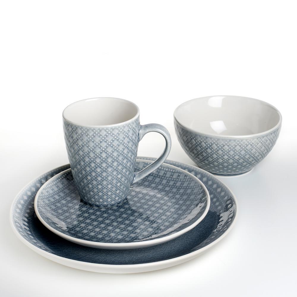 Palma 32-Piece Geometric Pattern Grey Dinnerware Set (Service for 8)
