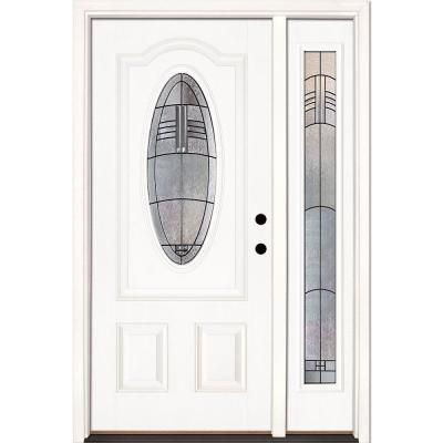 50.5 in.x81.625 in. Rochester Patina 3/4 Oval Lite Unfinished Smooth Left-Hand Fiberglass Prehung Front Door w/ Sidelite