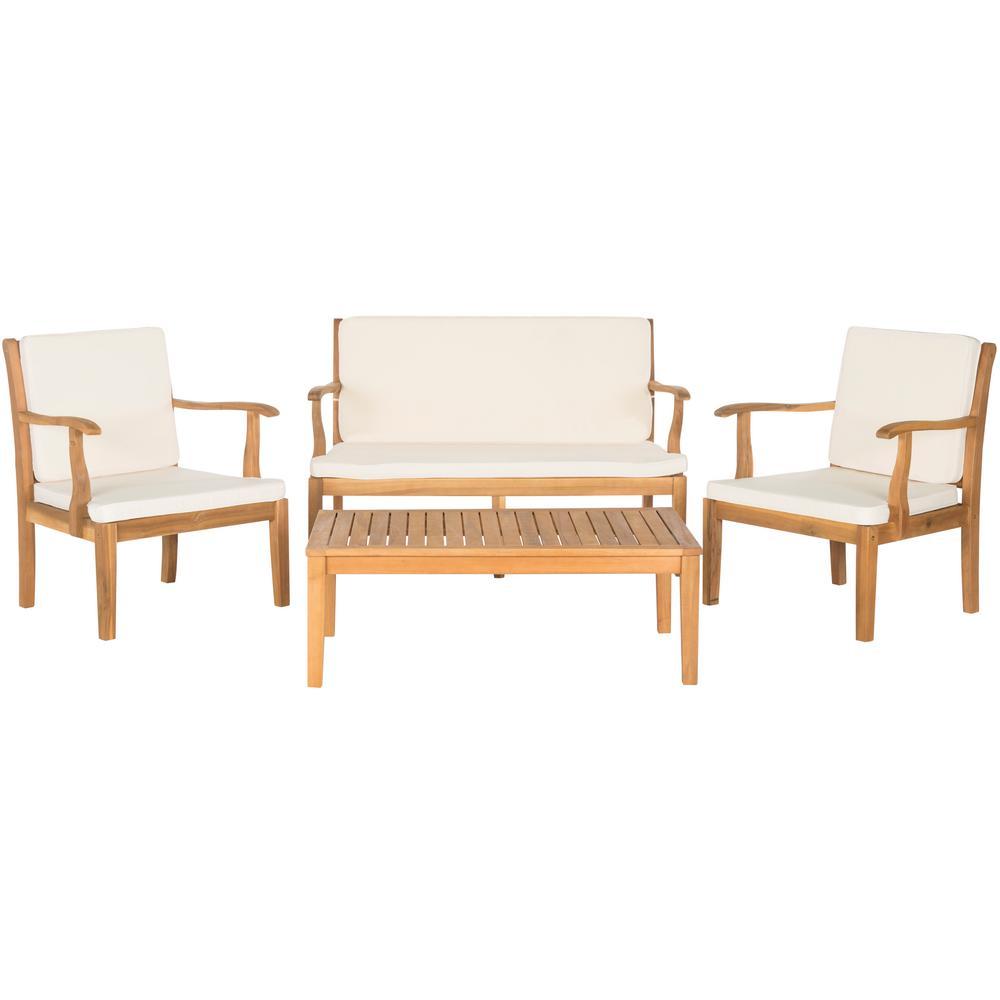Bradbury Natural 4-Piece Wood Patio Conversation Set with Beige Cushions
