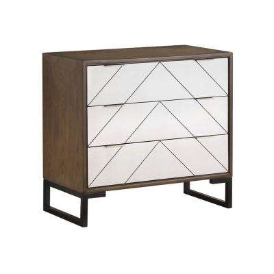 McMurray Brown and Silver 3-Drawer Chest with power