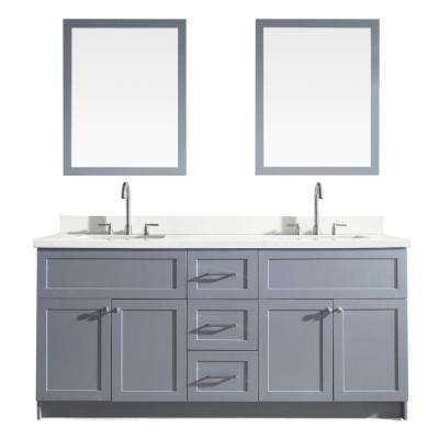 Hamlet 73 in. Bath Vanity in Grey with Quartz Vanity Top in White with White Basins and Mirrors
