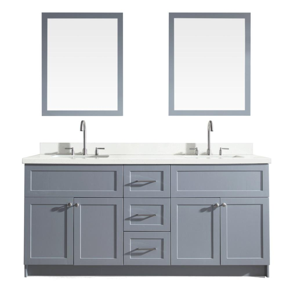 Bath Vanity In Grey With Quartz Top White Basinirrors