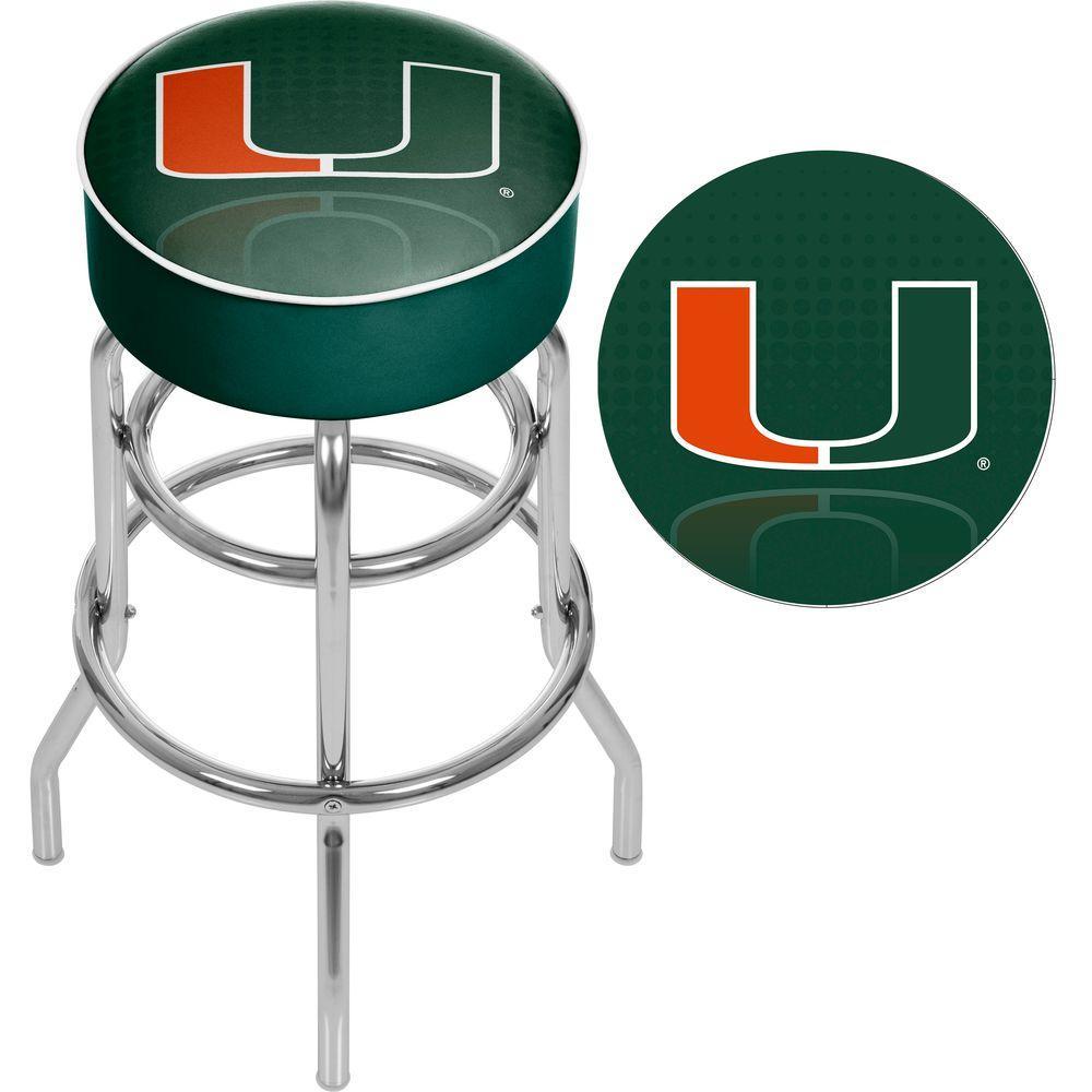 Trademark University of Miami Reflection 31 in. Chrome Padded Bar Stool