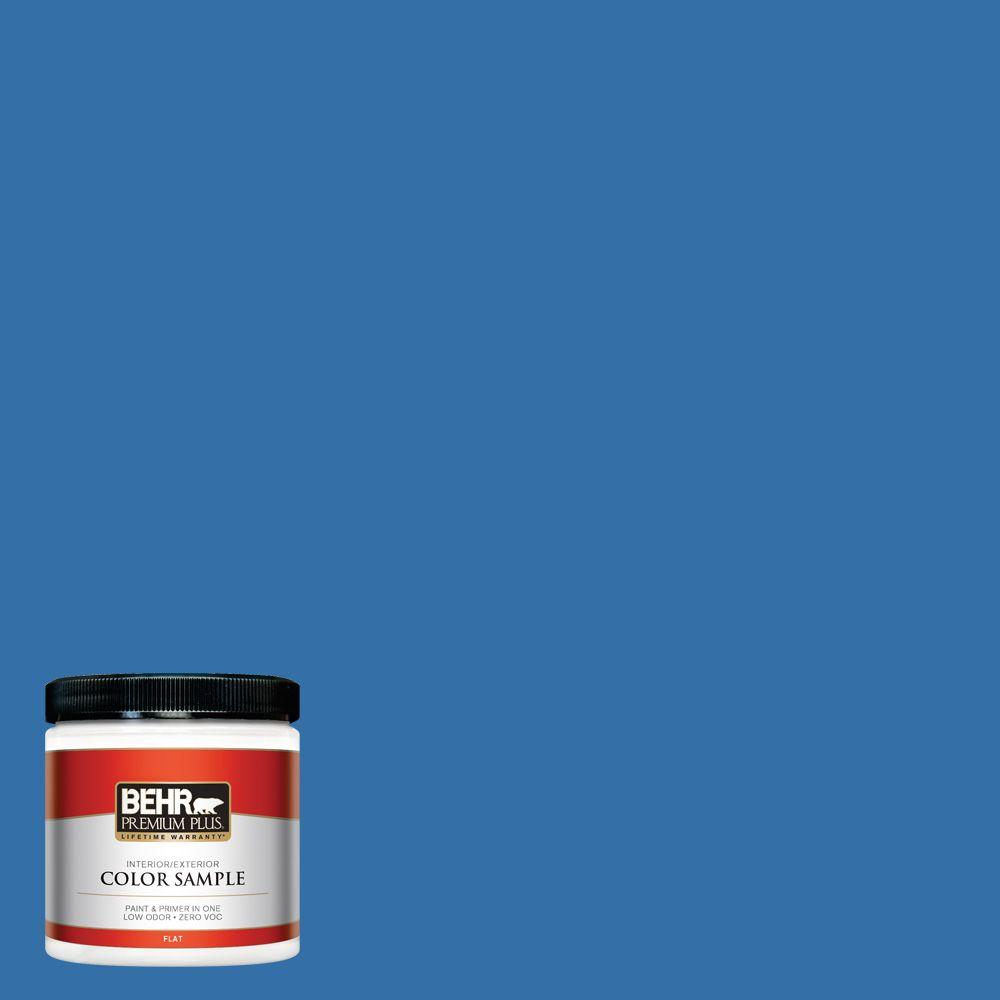 BEHR Premium Plus 8 oz. #P520-6 Mega Blue Interior/Exterior Paint Sample