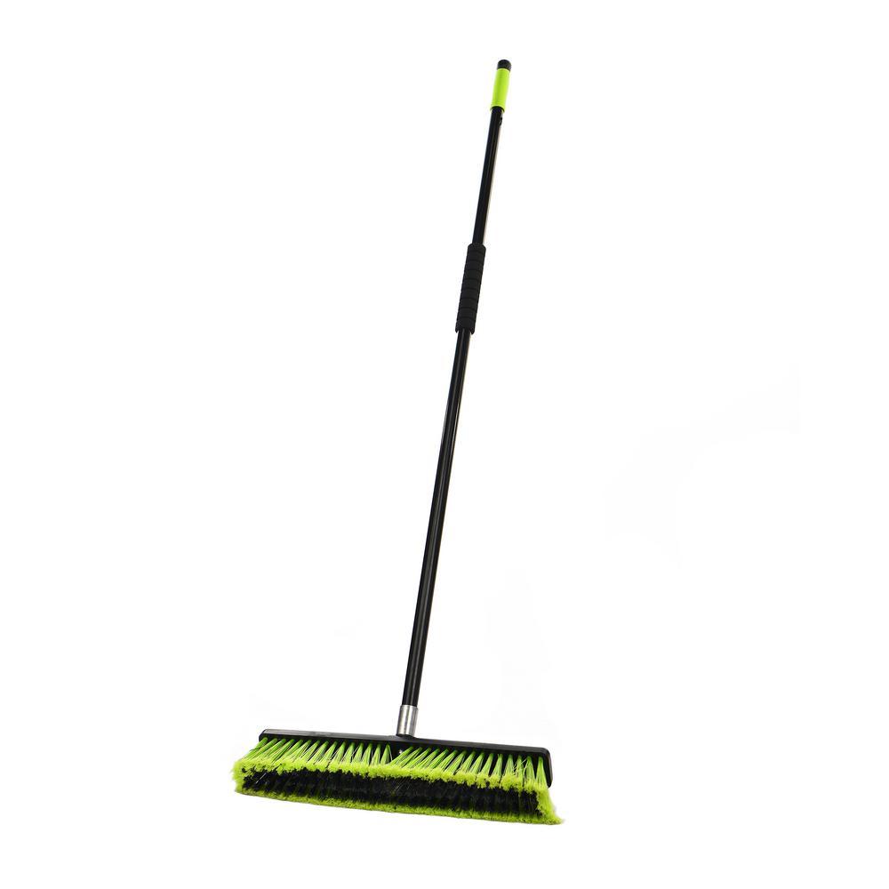 18 in. Green Indoor Multi-Surface 2-in-1 Squeegee Push Broom (3-Pack)