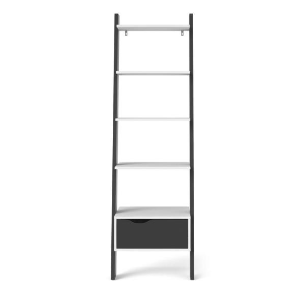 71.02 in. White/Black Matte Wood 5-shelf Accent Bookcase with Open Back