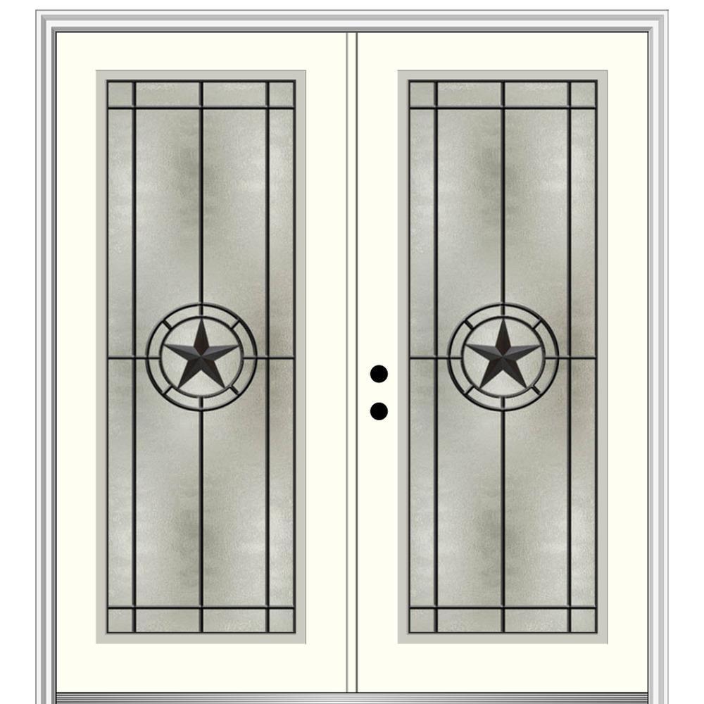 Mmi Door Elegant Star 64 In X 80 In Right Hand Full Lite Decorative Glass Alabaster Painted Fiberglass Prehung Front Door Z03745467r The Home Depot