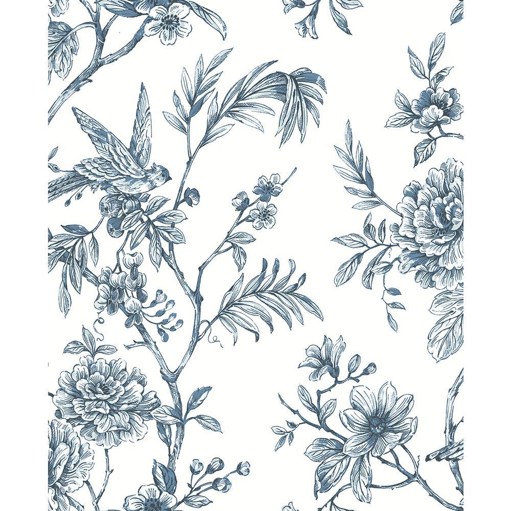 A-Street 56.4 sq. ft. Jessamine Blue Floral Trail Wallpaper 2763-24235