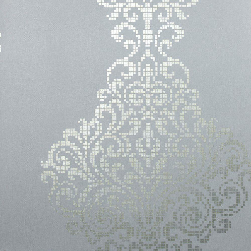 Kenneth James Lux Pewter Metallic Damask Wallpaper