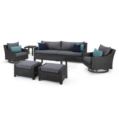 Deco 8-Piece Sofa and Motion Club Chair Wicker Patio Conversation Set with Gray Cushions