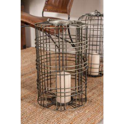 20 in. Gray Cylindrical Cage Design Candle Lantern