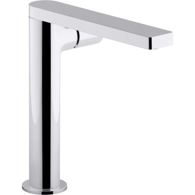 Composed Single-Hole Single-Handle Tall Vessel Bathroom Faucet with Cylindrical Handle and Drain in Polished Chrome