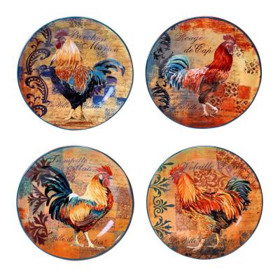 Rustic Rooster Salad and Dessert Plate (Set of 4)