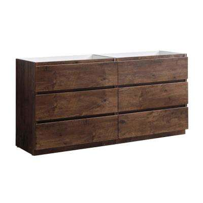 Lazzaro 72 in. Modern Double Bath Vanity Cabinet Only in Rosewood