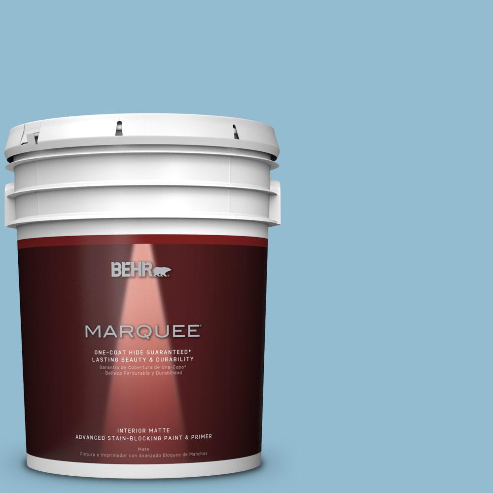 5 gal. #S490-3 Reef Blue One-Coat Hide Matte Interior Paint