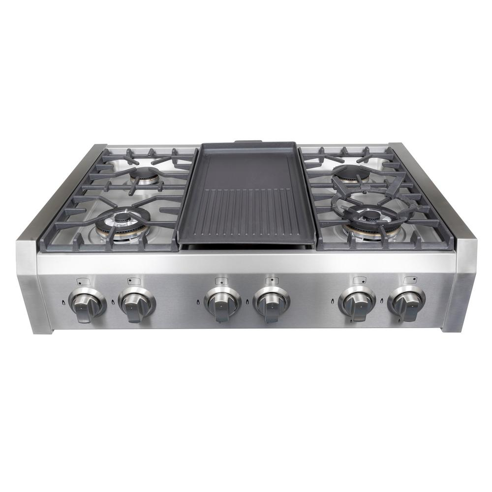 36 In. Gas Cooktop In Stainless Steel With Griddle ...