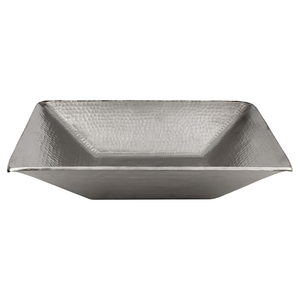 Premier Copper Products Modern Rectangle Hand Forged Old World Copper  Vessel Sink in Electroless Nickel