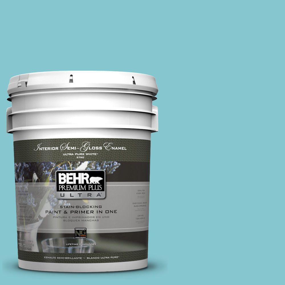 5-gal. #520D-4 Shallow Sea Semi-Gloss Enamel Interior Paint