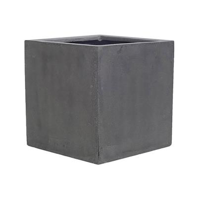 12 in. x 12 in. Matte Gray Fiberstone Square Cube Planter